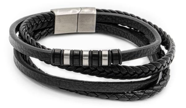 Black top grain leather bracelet wrap style