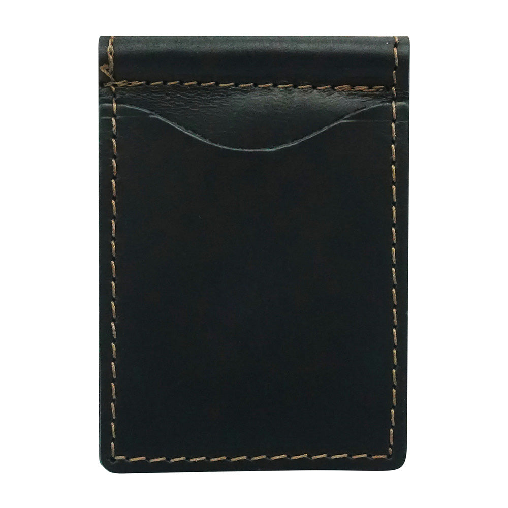 Black Onyx Top Grain Leather Money Clip Tan worn stitching outline handcrafted and designed by playhardlookdope Made From 100% Top Grain Leather Lining 100% Top Grain Leather 3''W X 4''L X 6.6'' Leather Produced in U.S. Develops a natural Patina over time