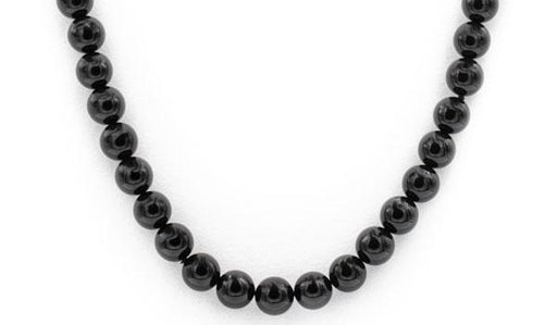 Black toumaline gloss natural stone necklace