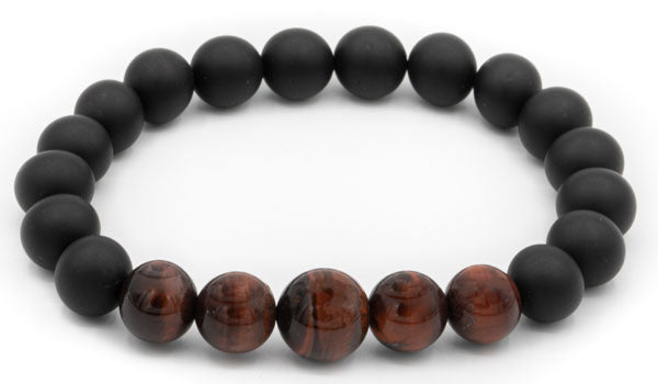 Black Tourmaline and Red Tigers Eye Gloss Natural Gemstone Bracelet