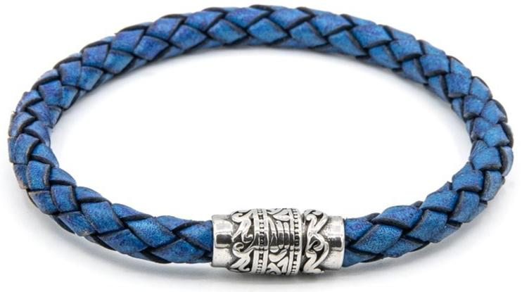 Electric Blue Magnetic Leather Bracelet