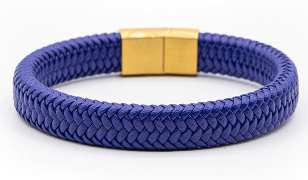 Alt=Blue Leather Bracelet Gold Clasp