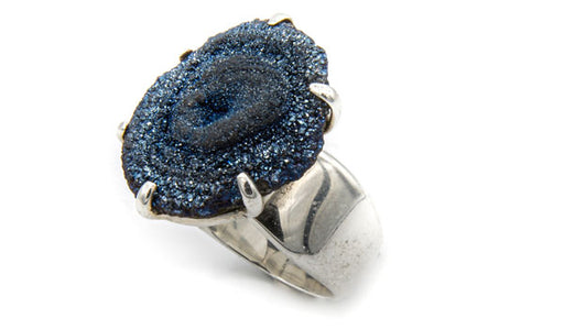 925 Silver Blue Drusy Stone Adjustable Ring feature img