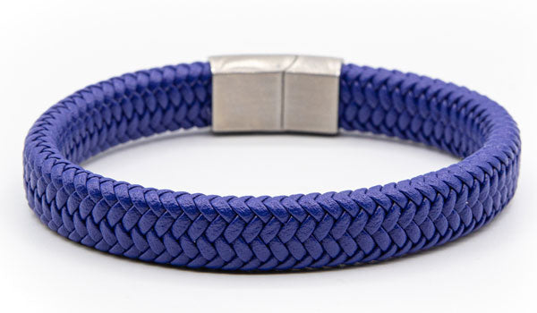 Alt=Blue Leather Bracelet Silver Clasp
