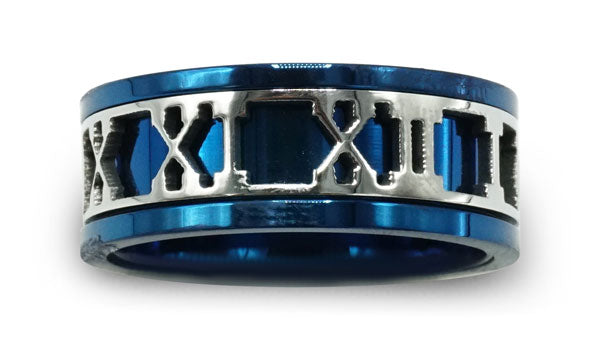 blue Roman numeral ring close up