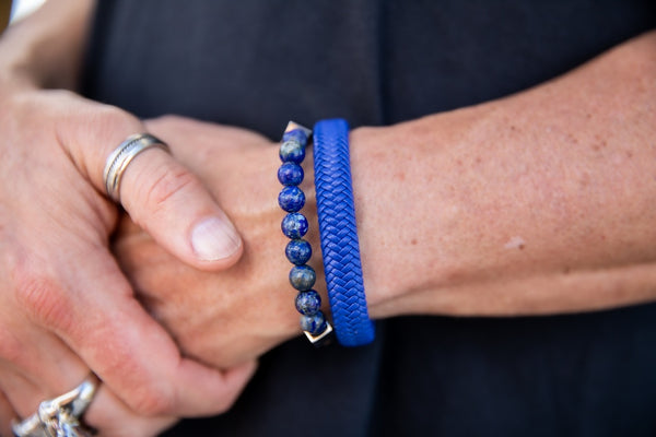 Alt=Male wearing Blue Bracelets