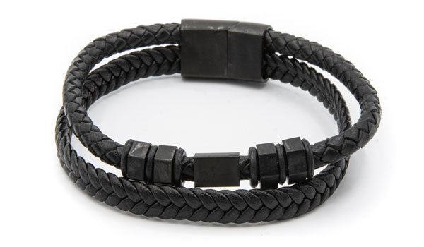 Bolt leather bracelet black clasp
