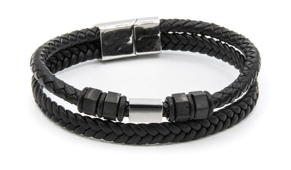 Bolt leather bracelet silver clasp