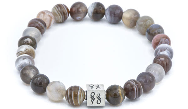 Botswana Agate Gemstone Bracelet with Sterling Silver Cube.