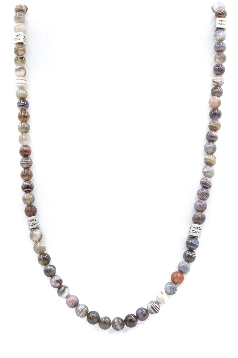 Botswana Gemstone Necklace with cube full length