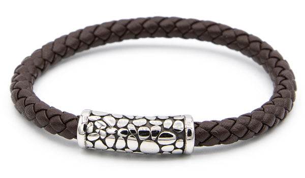 Alt=Brown Leather Bracelet with Stainless Steel Designed Magnetic Clasp.