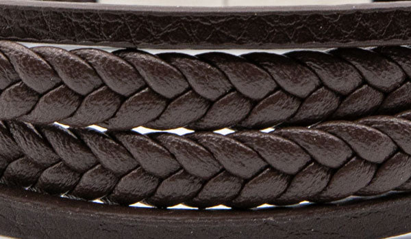 Alt=Brown leather layered bracelet close up.