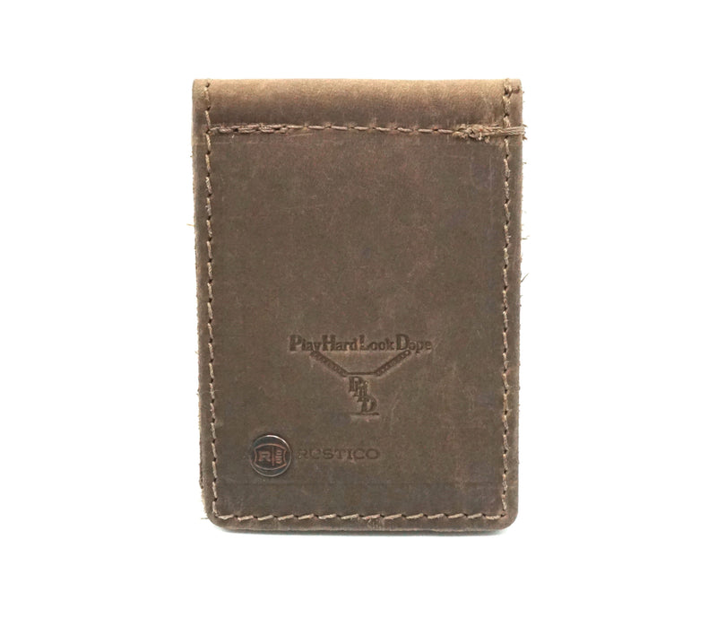 Brown Handmade Top Grain Leather Money Clip by PlayHardLookDope in Chelsea New York