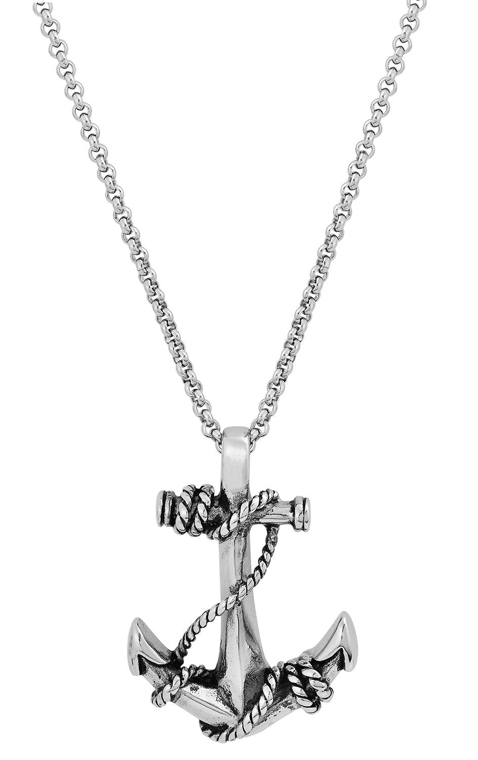 Stainless Steel Roped Anchor Necklace