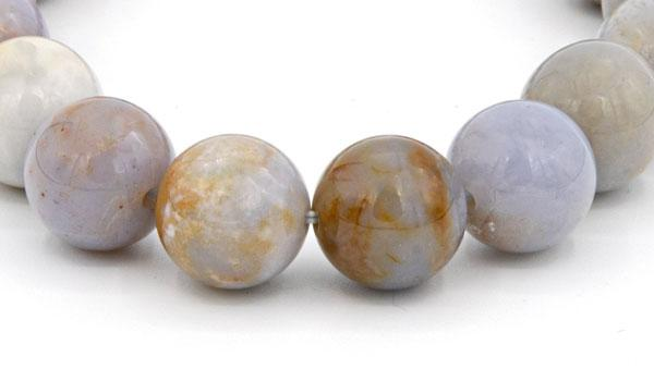 Chalcedony natural stone bracelet close up