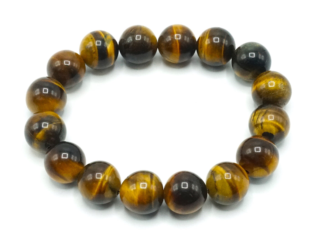 Tiger eye- 12mm- Natural Stone Bracelet- Gloss