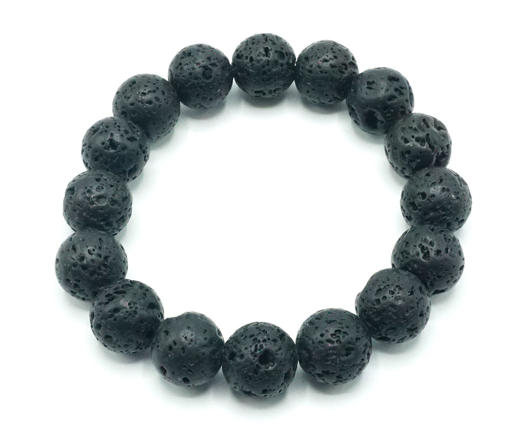 Black- Lava- Natural Stone Bracelet- 12mm