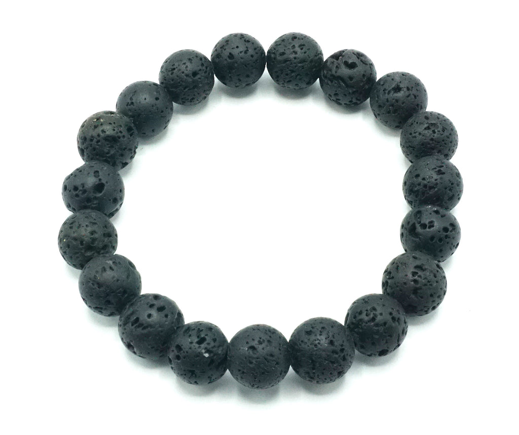 Black- Lava- Natural Stone Bracelet- 10mm