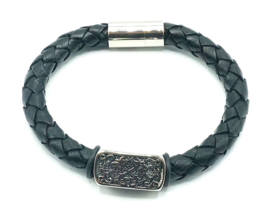 Black Leather Bracelet Silver Center Piece Charm