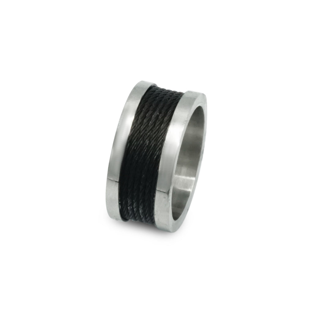 Silver- Stainless- Steel- Ring- Black- Cable Wire- Design
