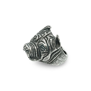 Silver Stainless Steel Bull Dog Face ring