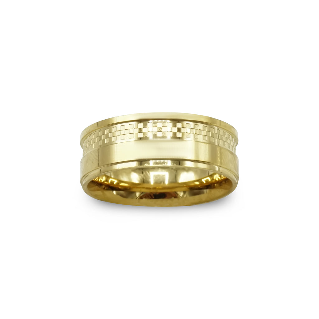 Gold Stainless Steel Checker Design Ring Band