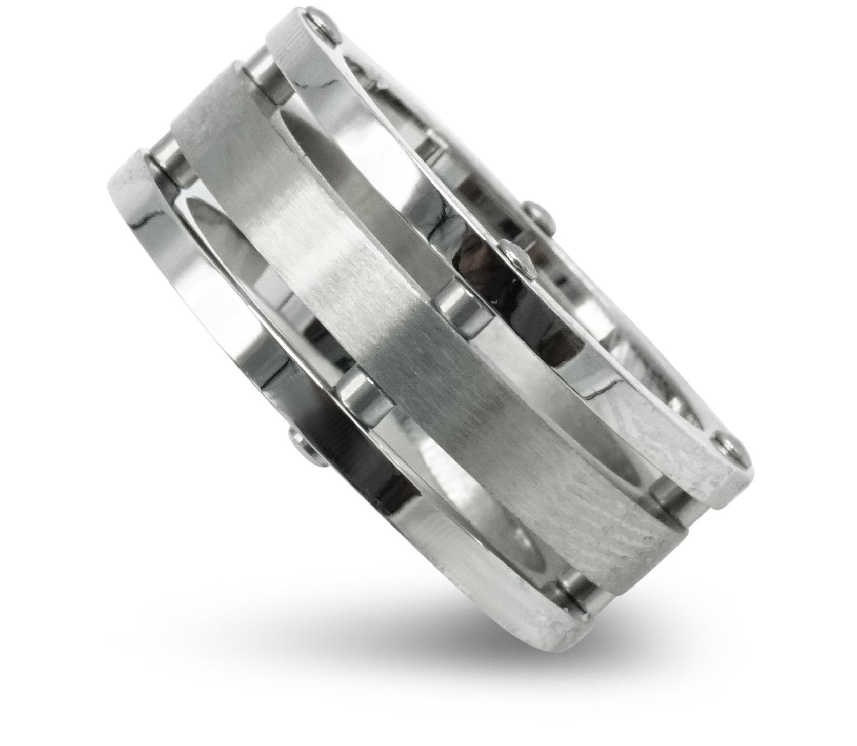 Silver Stainless Steel 3 Layered Ring