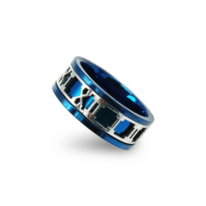 Blue Stainless Steel Roman Numeral Design Ring