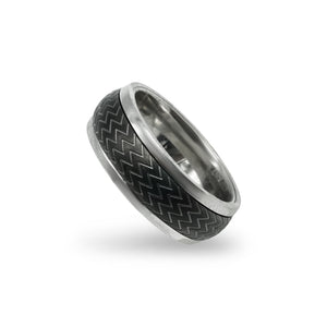 Silver Stainless Steel Gunmetal Ridged Spinner Ring