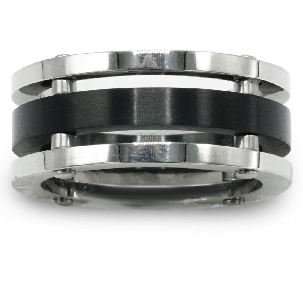 Silver & Black Stainless Steel Triple Stack Ring