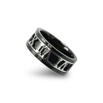 Black Stainless Steel Roman Numeral Design ring