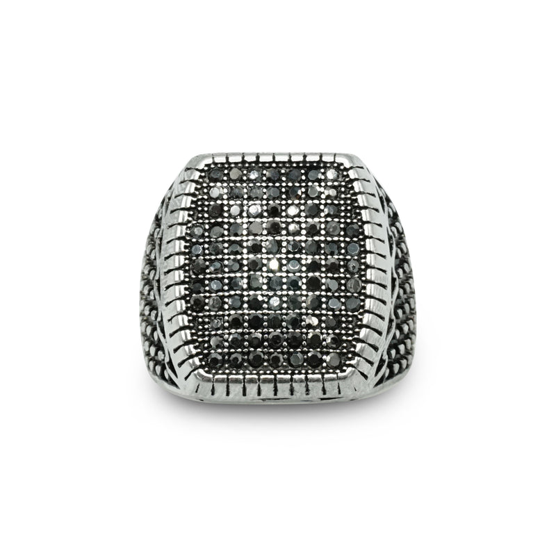 Silver Stainless Steel Austrian Crystal Stud Embedded Ring