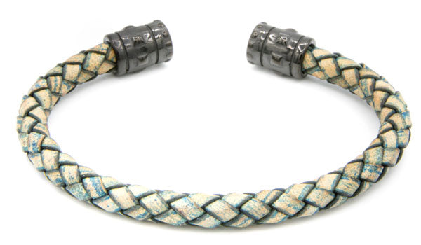 Distressed Braided Leather Cuff