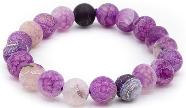 Purple dragon vein 10mm natural stone bracelet close up