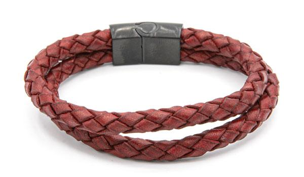 Red  dual layered leather bracelet feature photo