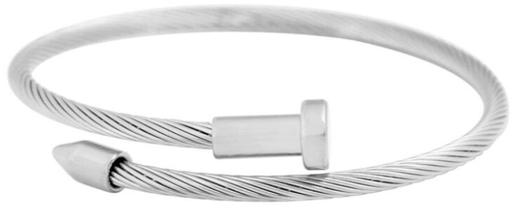 silver stainless steel cable wire nail design bracelet completely adjustable by pulling the ends of the nail to your liking hand wrapped using four feet of cable wire designed and handmade by playhardlookdope free size one size fits most