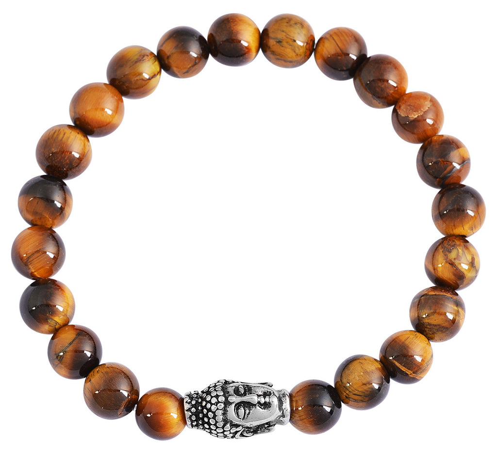 Tiger's Eye Natural Stone Buddha Head Bracelet