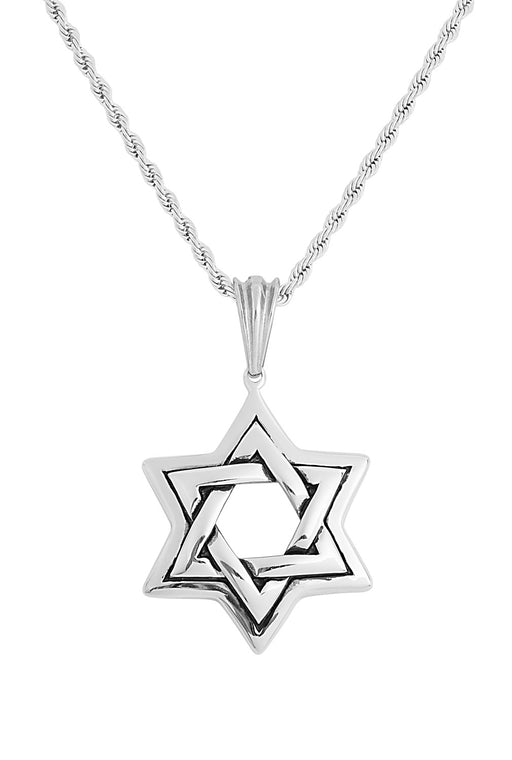 Silver Star of David Pendant Necklace feature img full length