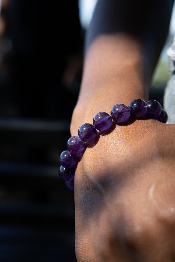 Amethyst Gloss Natural Gemstone Bracelet