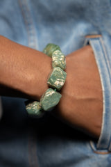 Woman wearing Green aventurine Gemstone Bracelet.