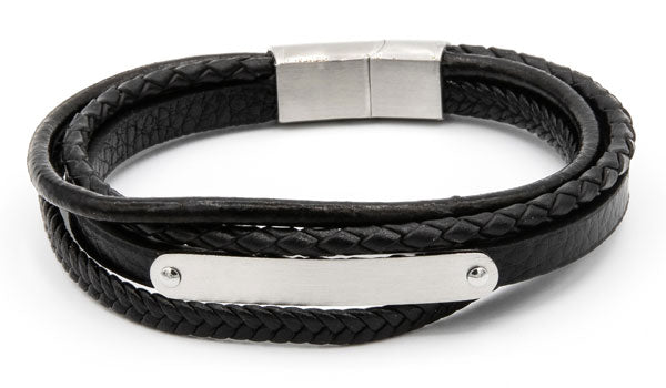 Silver leather edgy wrap bracelet