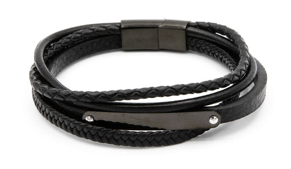 Black leather edgy wrap bracelet