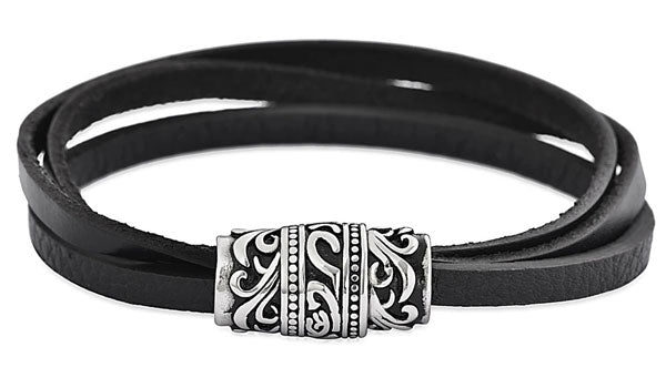 Triple Layer Black Leather Tribal Bracelet feature img