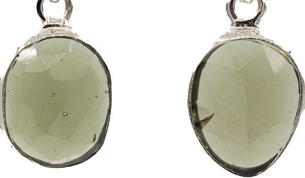 Faceted Moldavite Earrings.