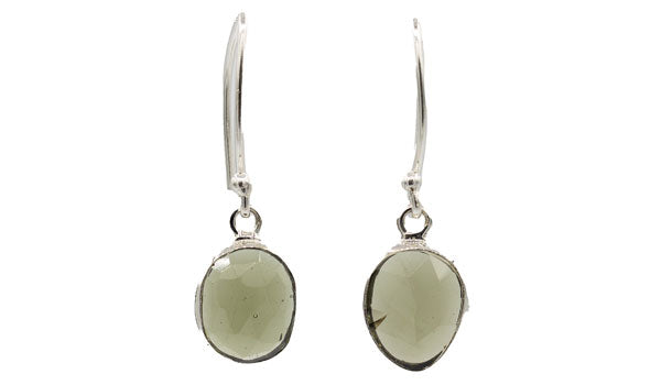 Sterling Silver Faceted Moldavite Earrings.