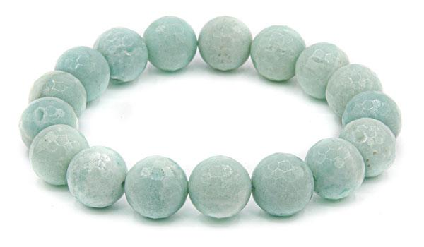 Faceted amazonite 10mm natural stone bracelet