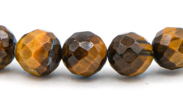 Faceted tigers eye 8mm natural stone bracelet close up
