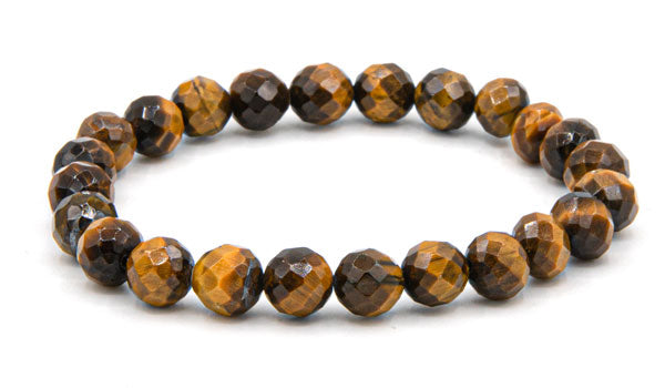 Faceted tigers eye 8mm natural stone bracelet