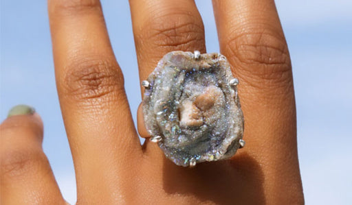 Sterling Silver Blue Chalcedony Drusy Stone Adjustable Ring