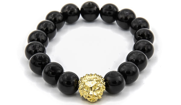 Gold lion head Onyx beaded bracelet
